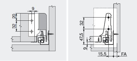 Рамеры для установки задней стенки и фасада