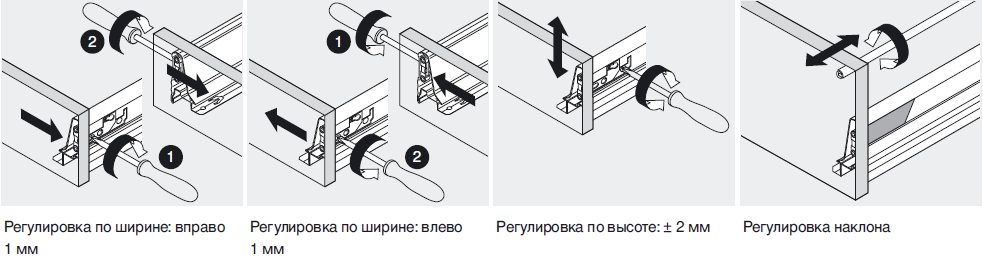 Регулировка ящика Тандембокс